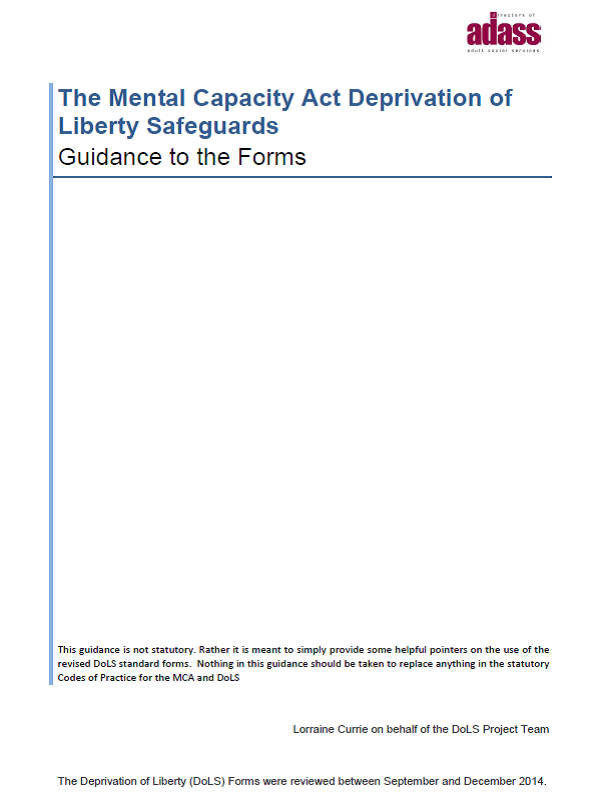 Deprivation of Liberty Safeguards Guidance