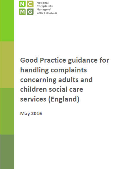 Good Practice guidance for handling complaints concerning adults and children social care services (England)